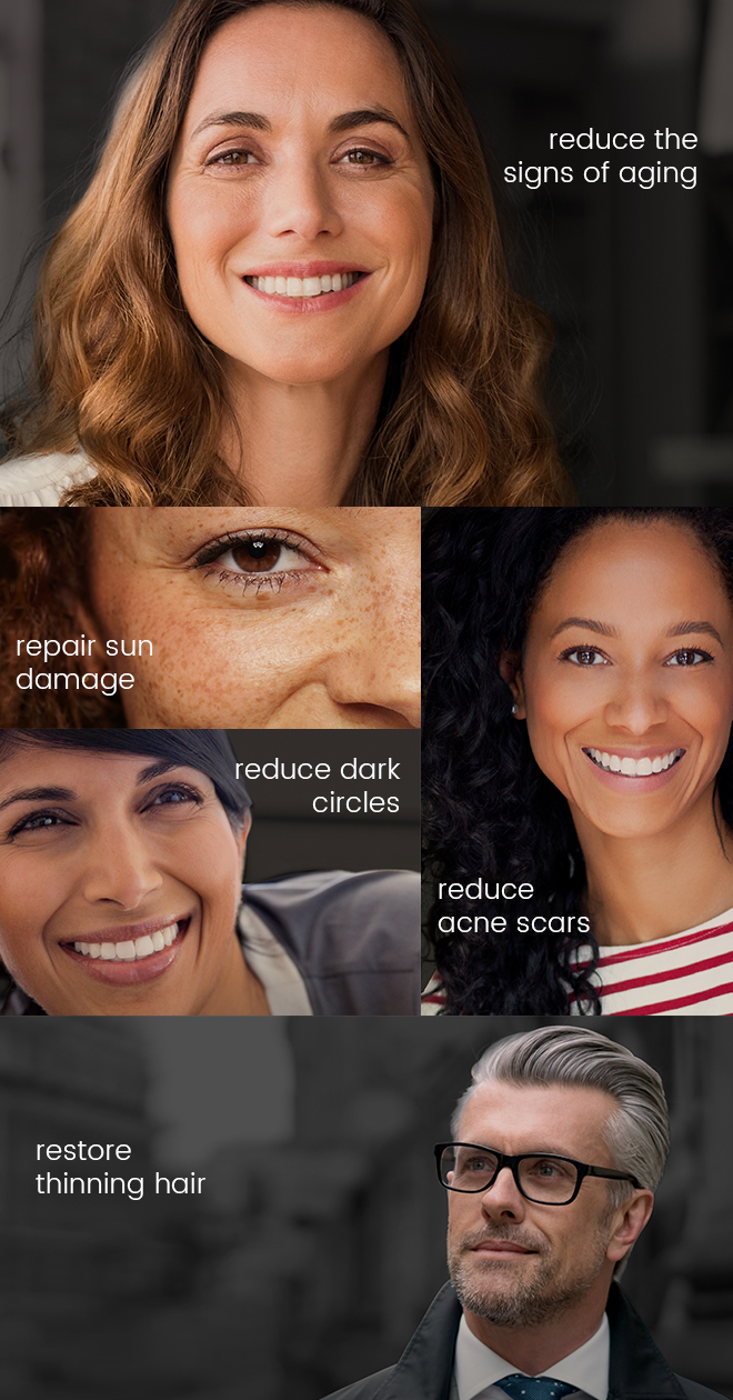 reduce the signs of aging, repair sun damage, reduce dark circles, reduce acne scars, restore thinning hair